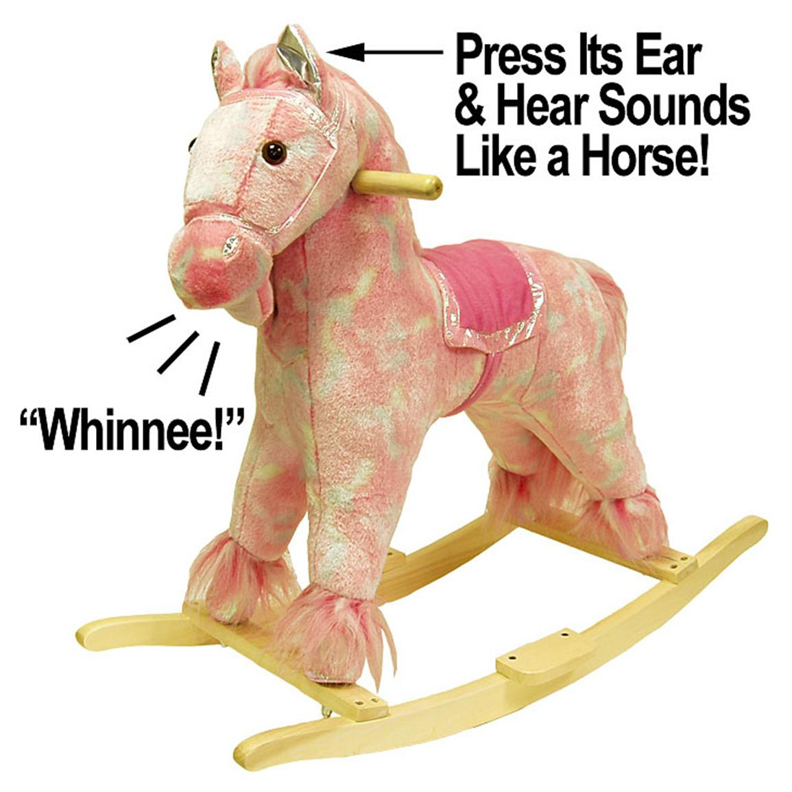 Happy Trails™ Pink Plush Rocking Pony With Sound