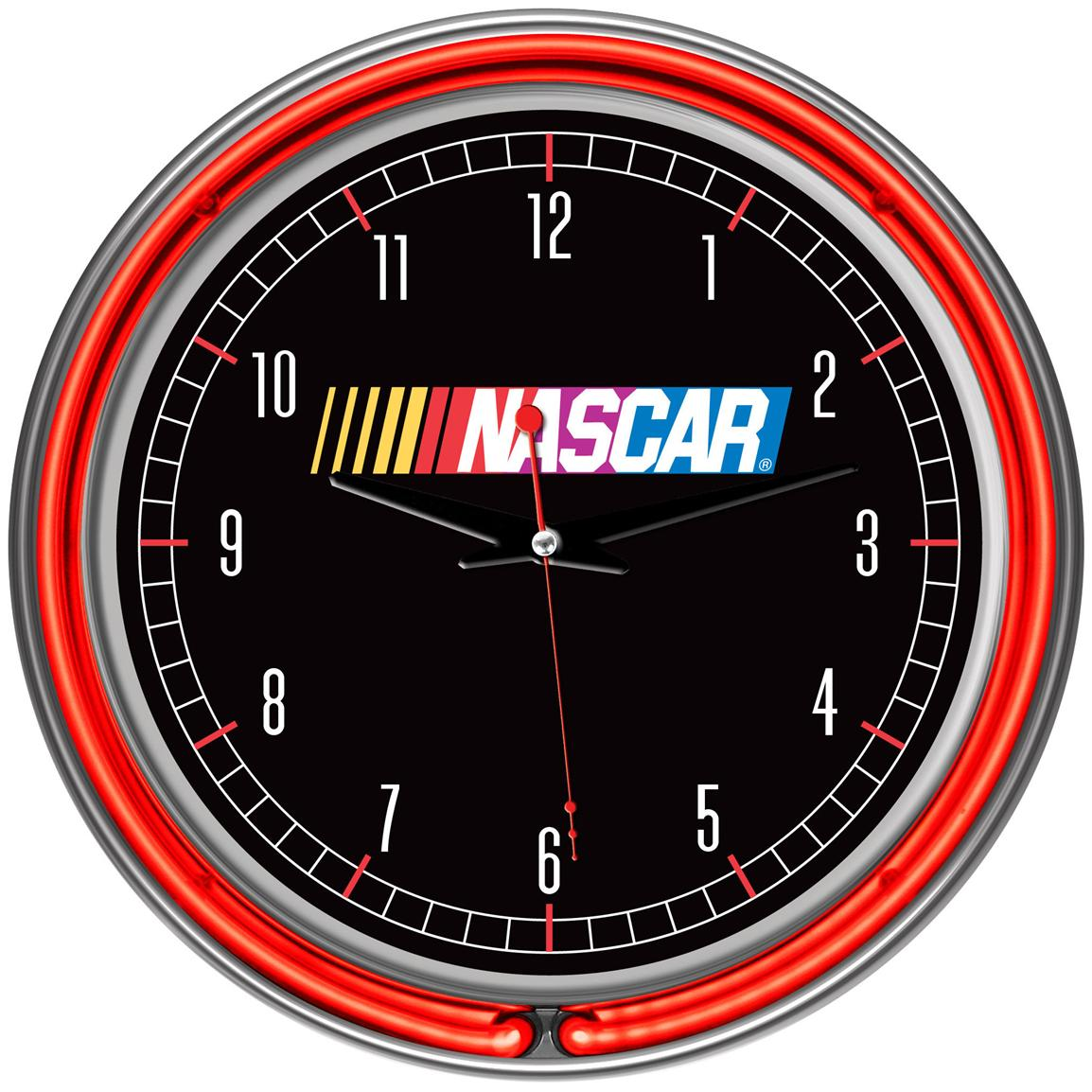 Trademark® NASCAR® Chrome Double Ring Neon Clock