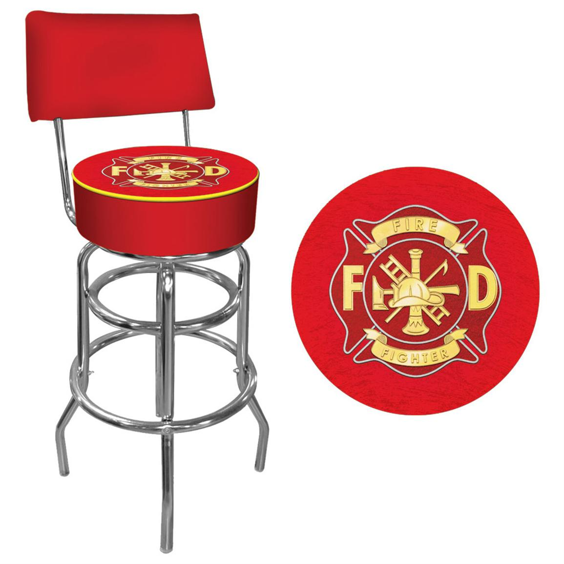 Heroes Padded Bar Stool with Back, Fire Fighter