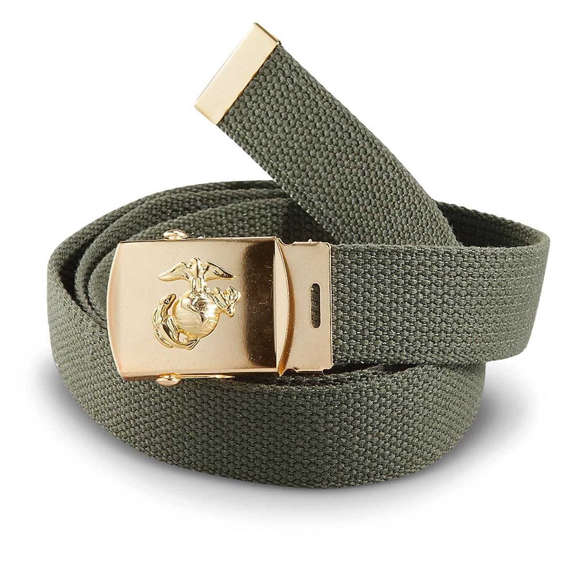 2 New U.S.M.C. Trouser Belts, Olive Drab / Gold-tone