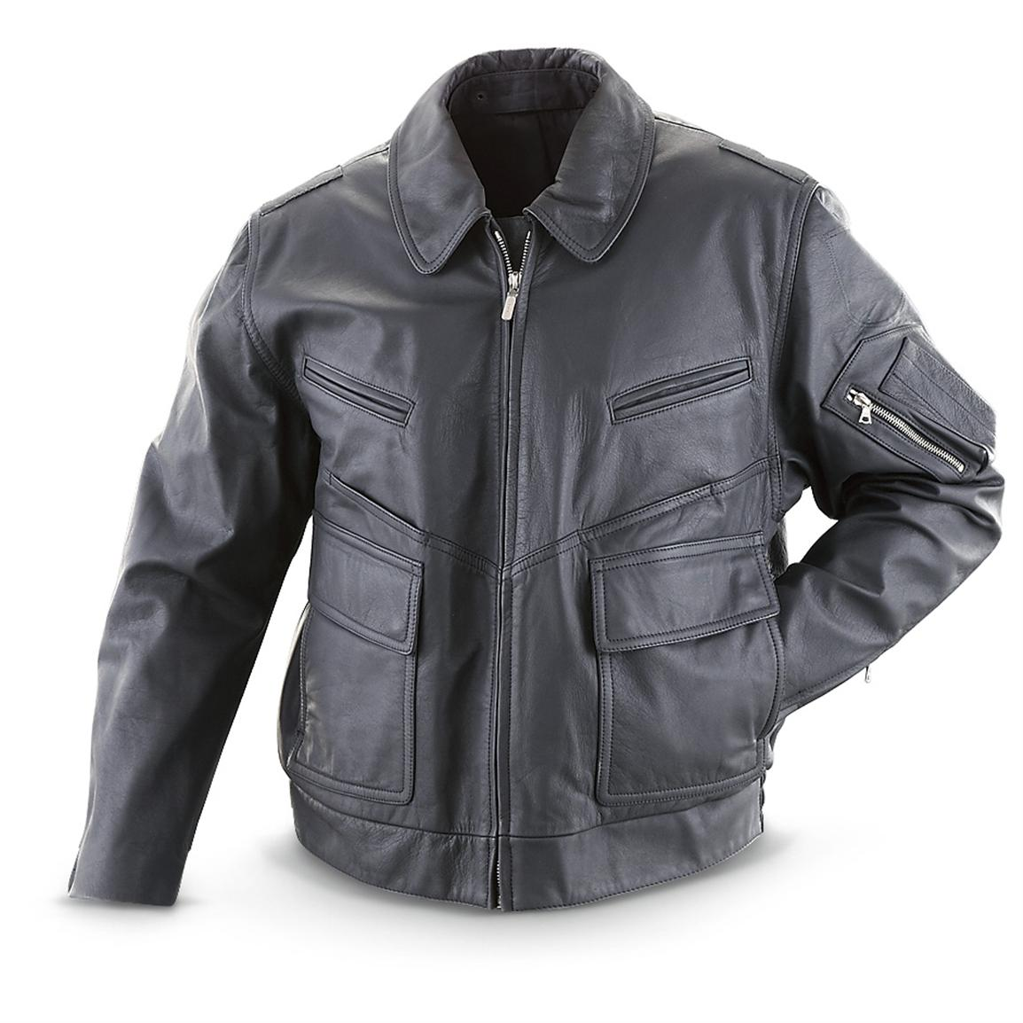 Women's Used German Police Leather Jacket