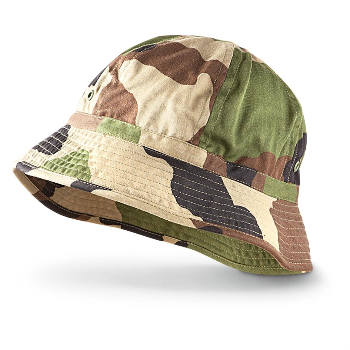 3 New French Military Boonie Hats, Woodland