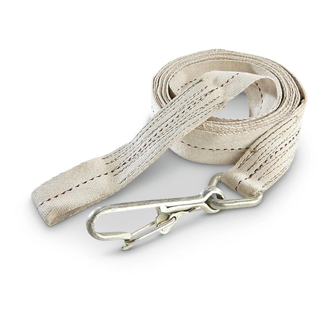 New Belgian Military Surplus 2 inch x 22 foot Tow Strap with Metal Hook