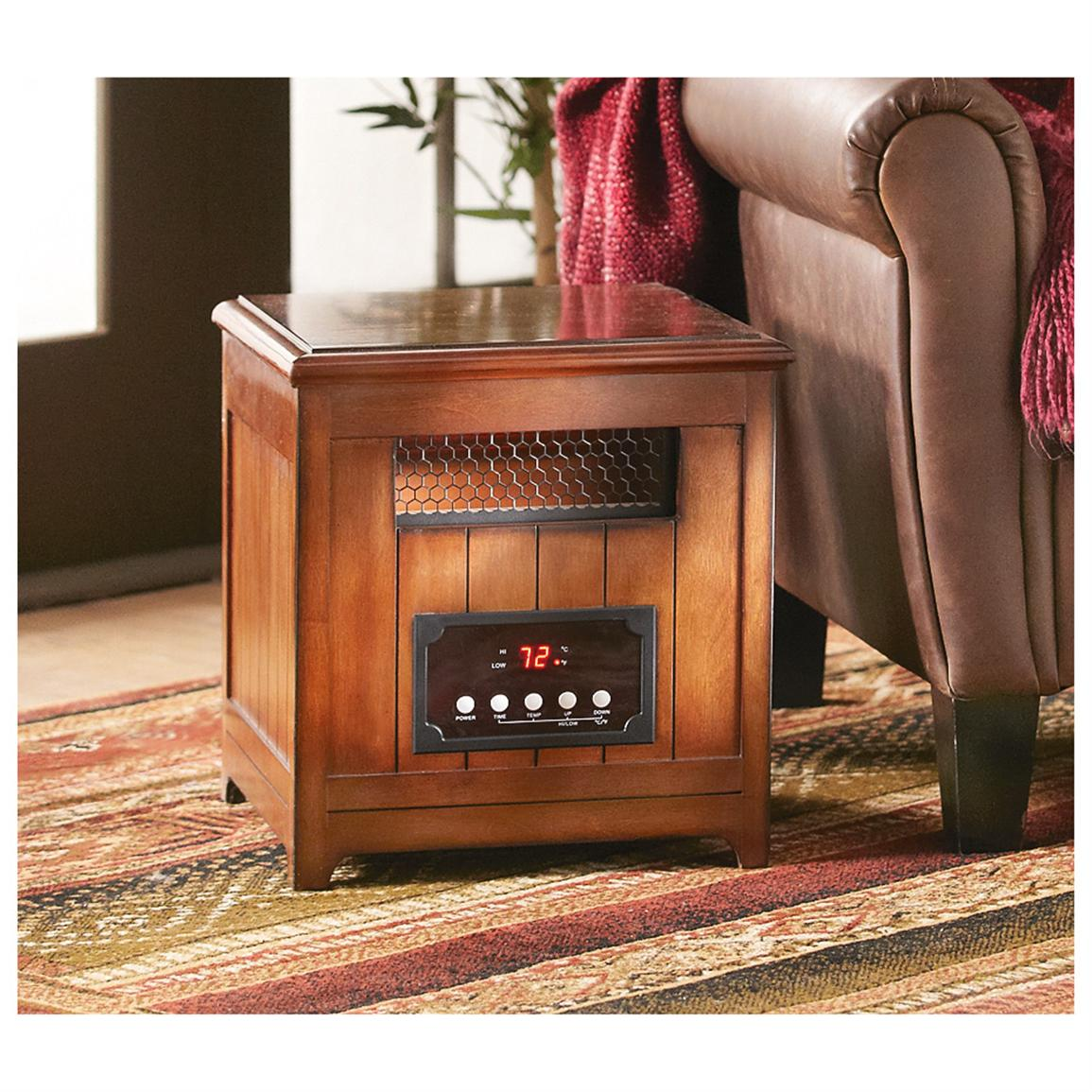 Infrared Heater Side Table, Pecan