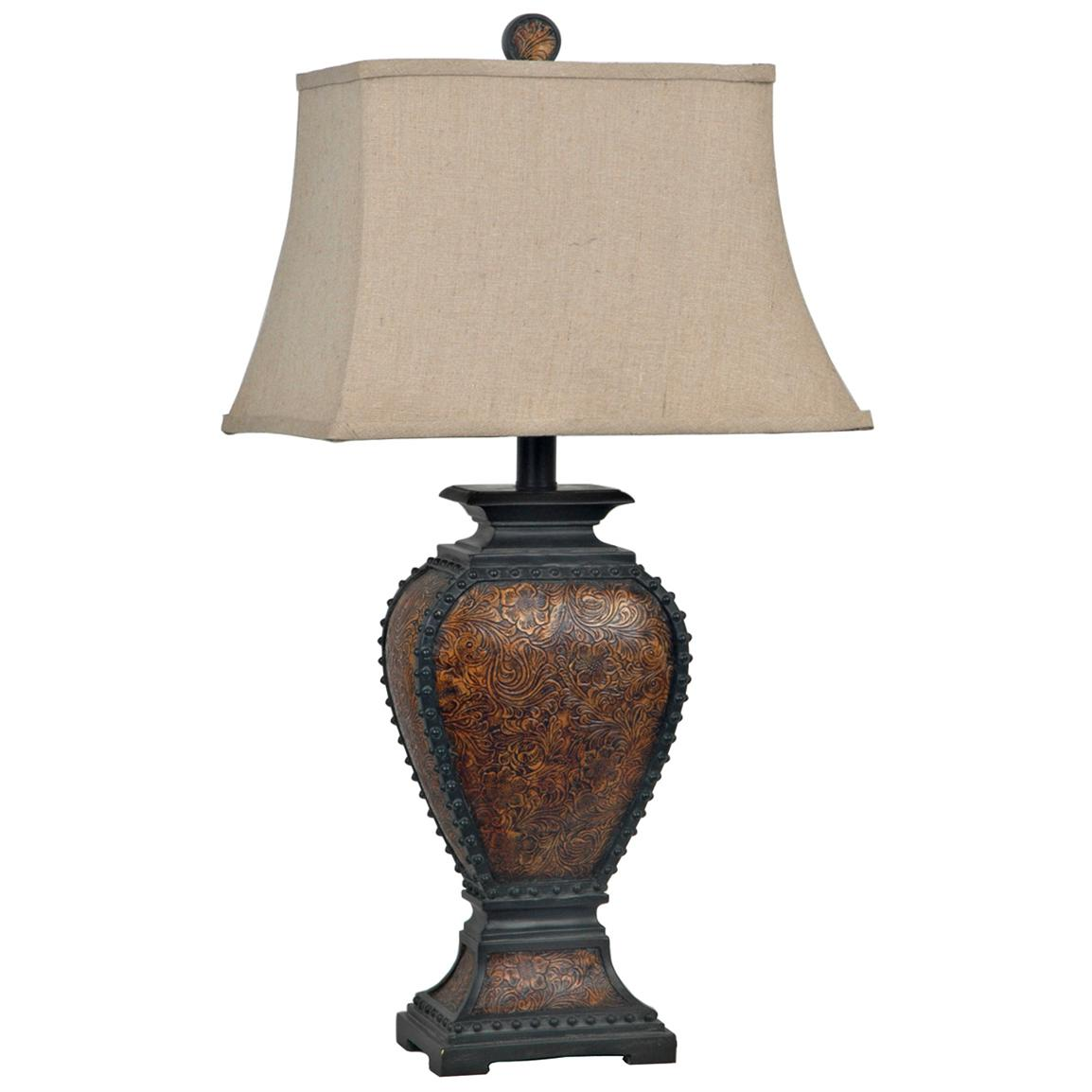 Crestview® Tooled Leather Table Lamp