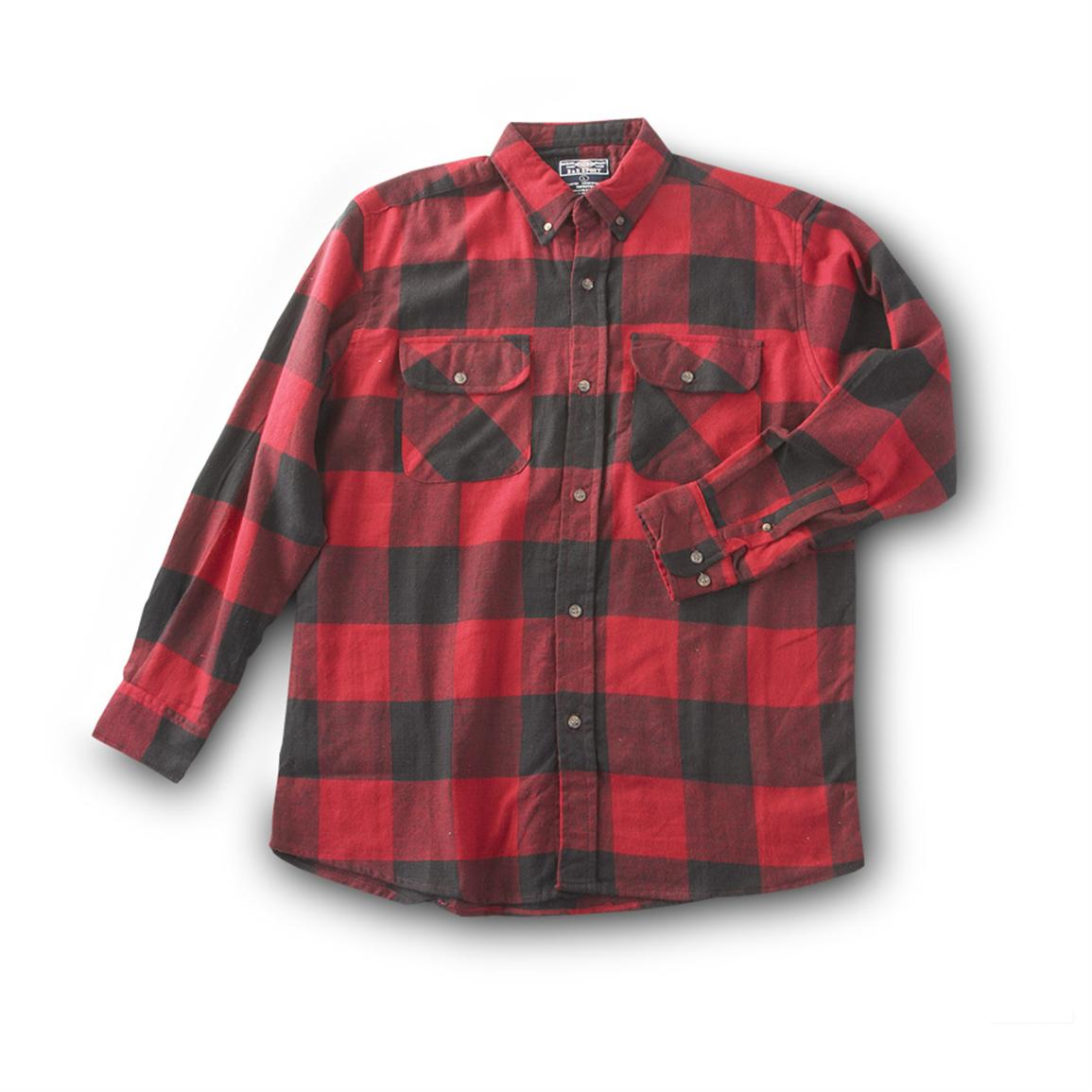 Flannel Long-sleeve Shirt, Red / Black
