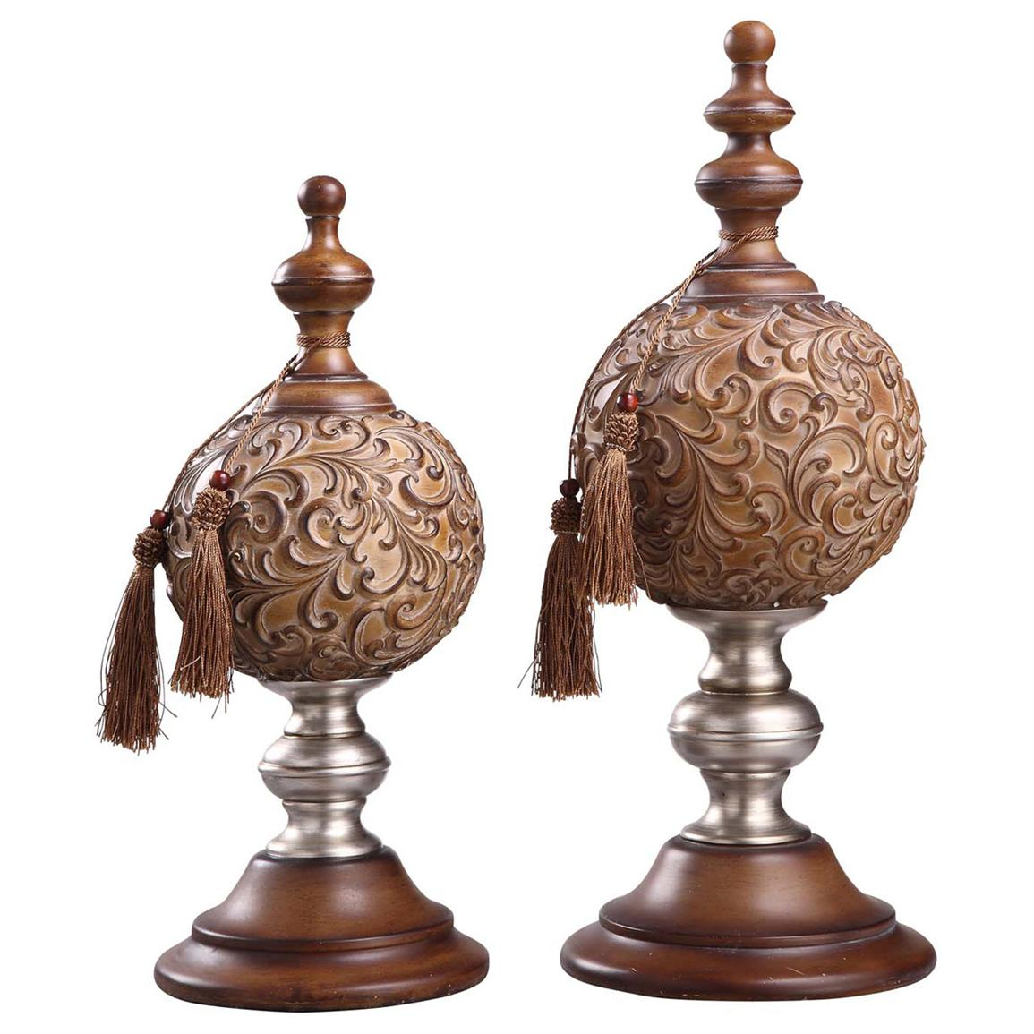 Crestview Paola Finials with Tassels, Set of 2