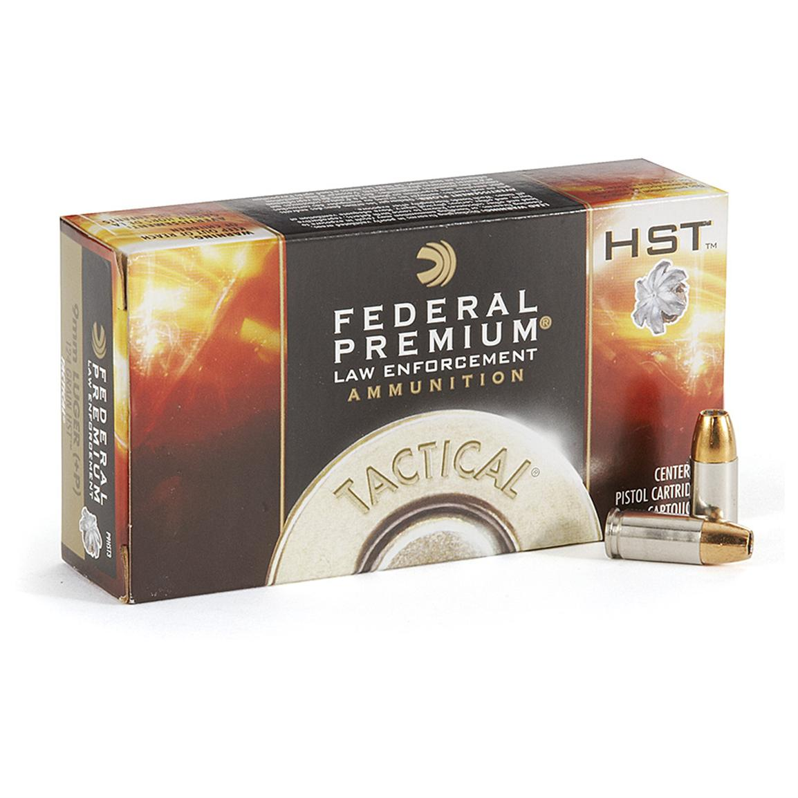 Federal, 9mm +P, HST HP, 124 Grain, 500 Rounds