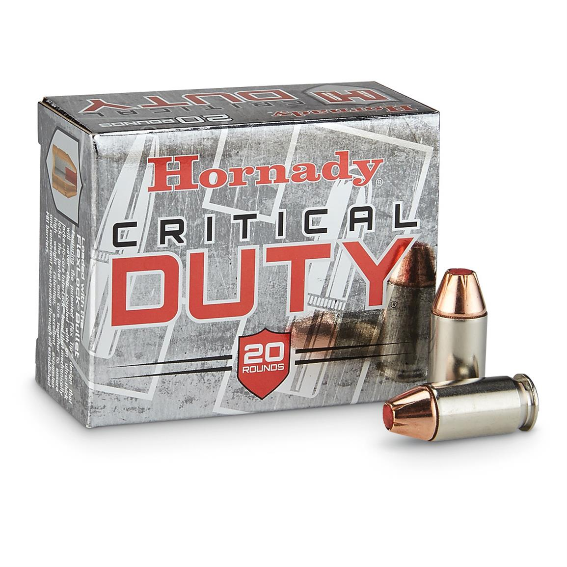 Hornady Critical Duty FlexLock .45 Auto +P Critical 220 Grain Ammo, 20 rounds, Box photoed is for illustrative purposes only, offer is for Hornady .45 Auto +P Critical Duty