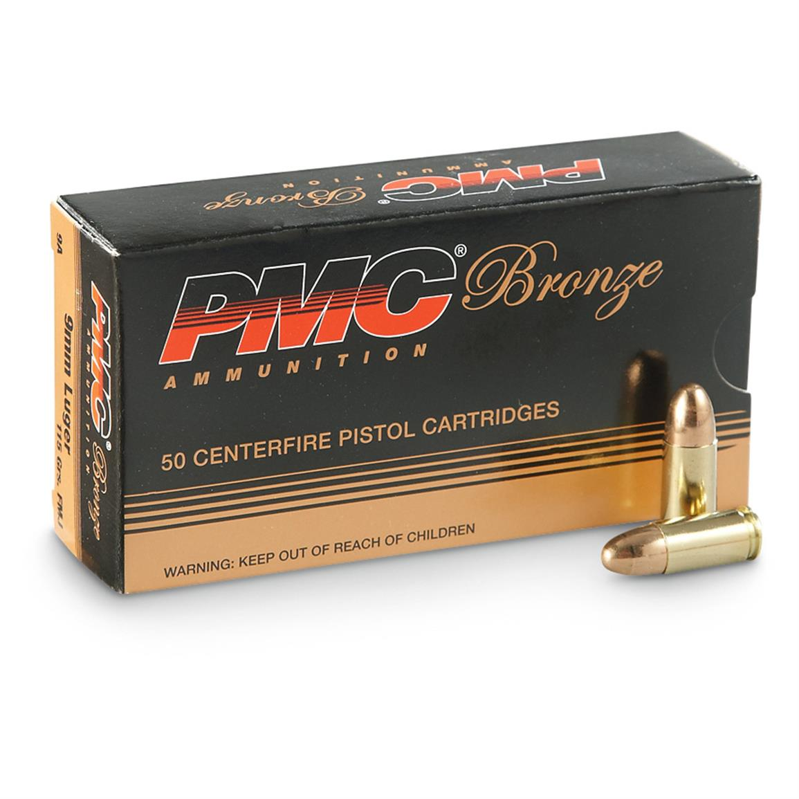 pmc bronze 9mm luger fmj 115 grain 500 rounds 234349 9mm ammo