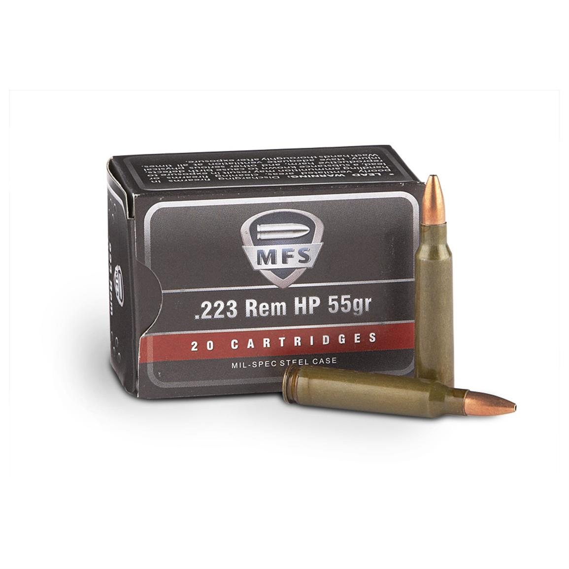 MFS® .223 Remington®, 55 Grain Hollow-Point Ammo