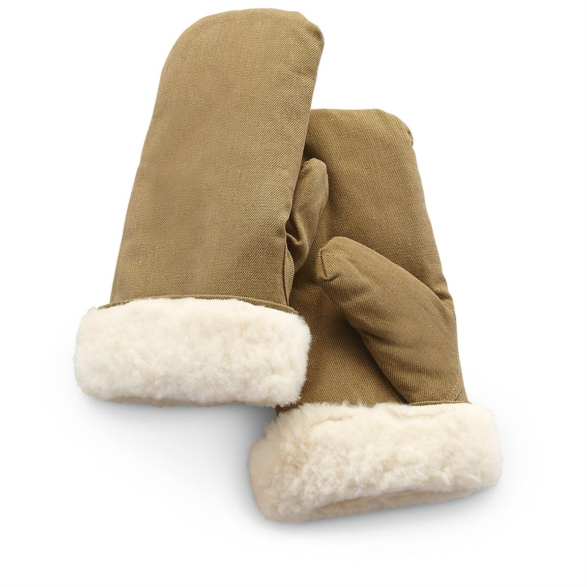 Pair of Russian Military Surplus WWII-style Repro Sherpa Mittens