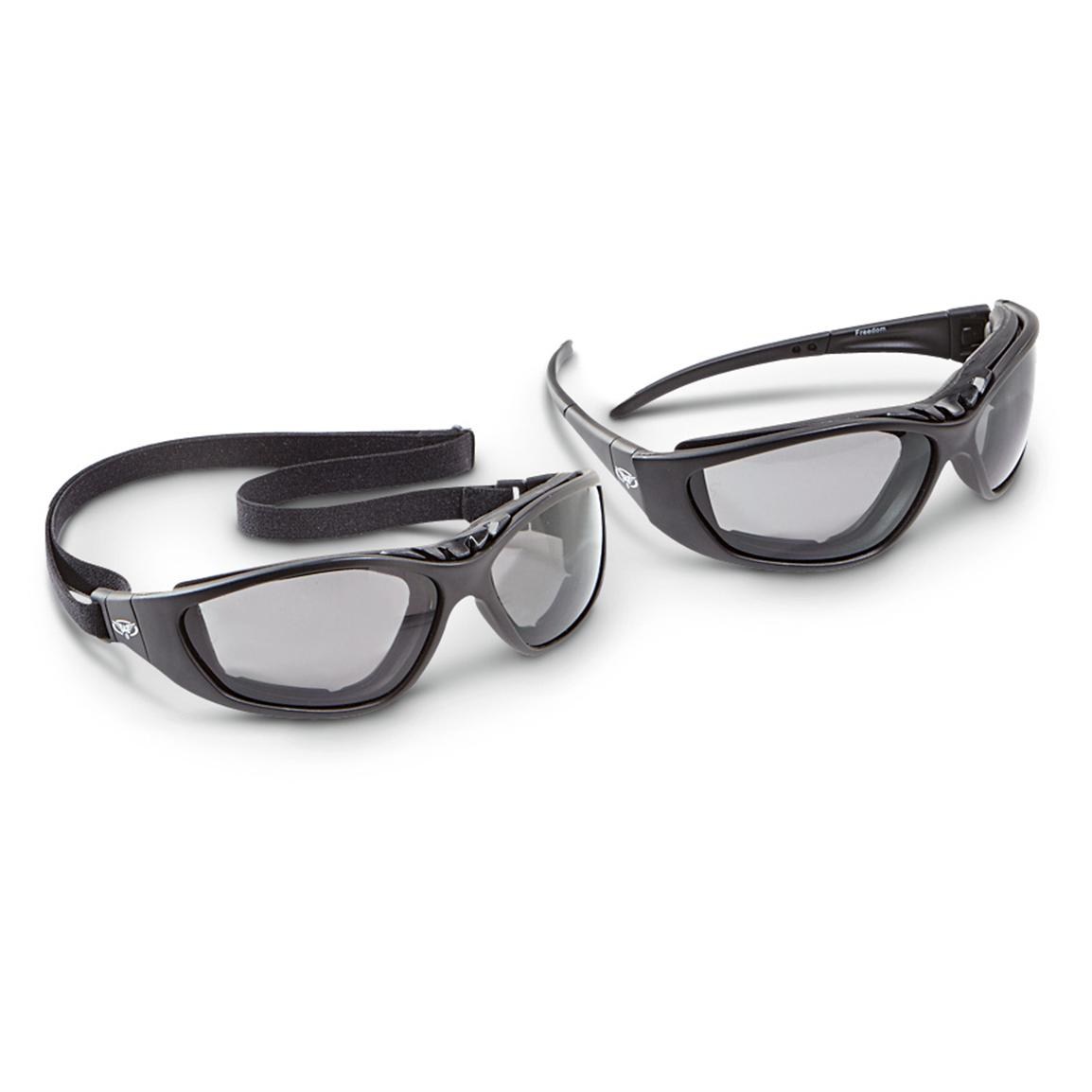 2 Freedom Shatterproof Riding Sunglasses, Smoke Lenses; Removable strap