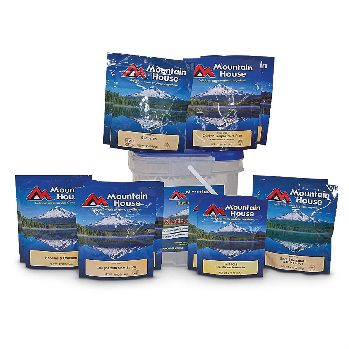 Mountain House Just In Case Classic Assortment Emergency Food Bucket, 29 Servings