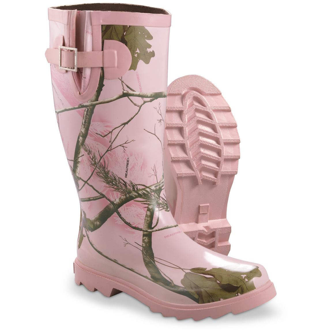 Realtree Girl Women's Ms. JoJo Rain Boots, Realtree MAX-1 Pink