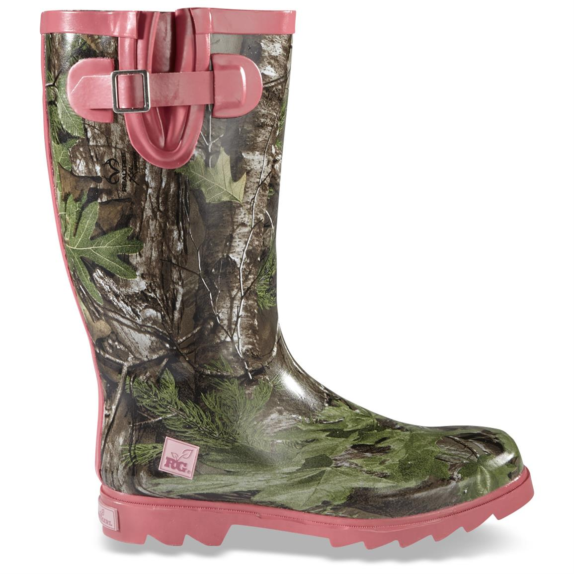 Realtree Girl Women's Ms. JoJo Rain Boots, Hot Pink / Realtree Xtra Green