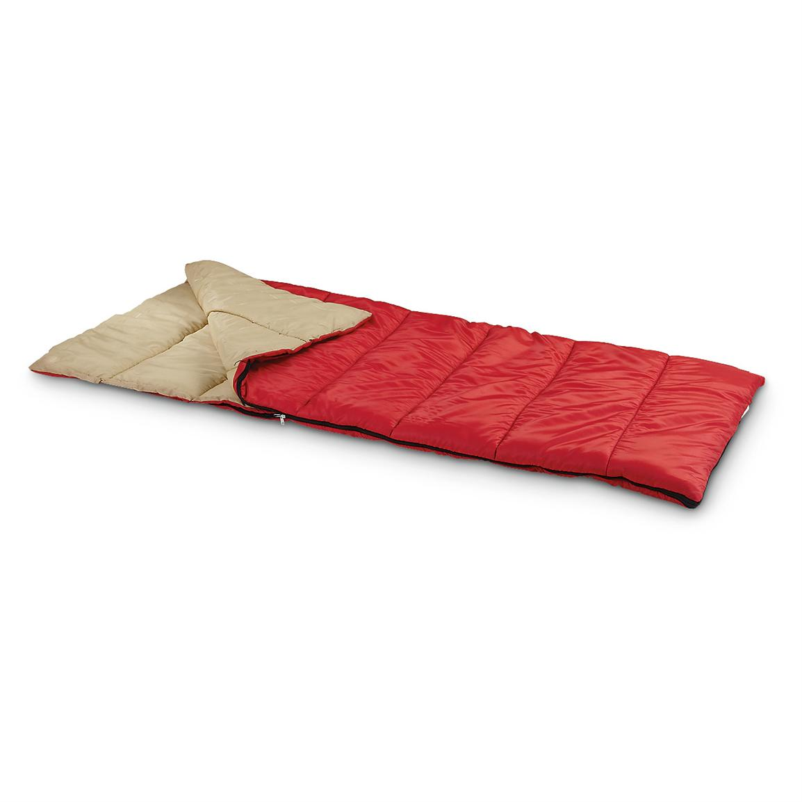 "2 Famous Maker 33x75"" Sleeping Bags, Red with Tan Interior"