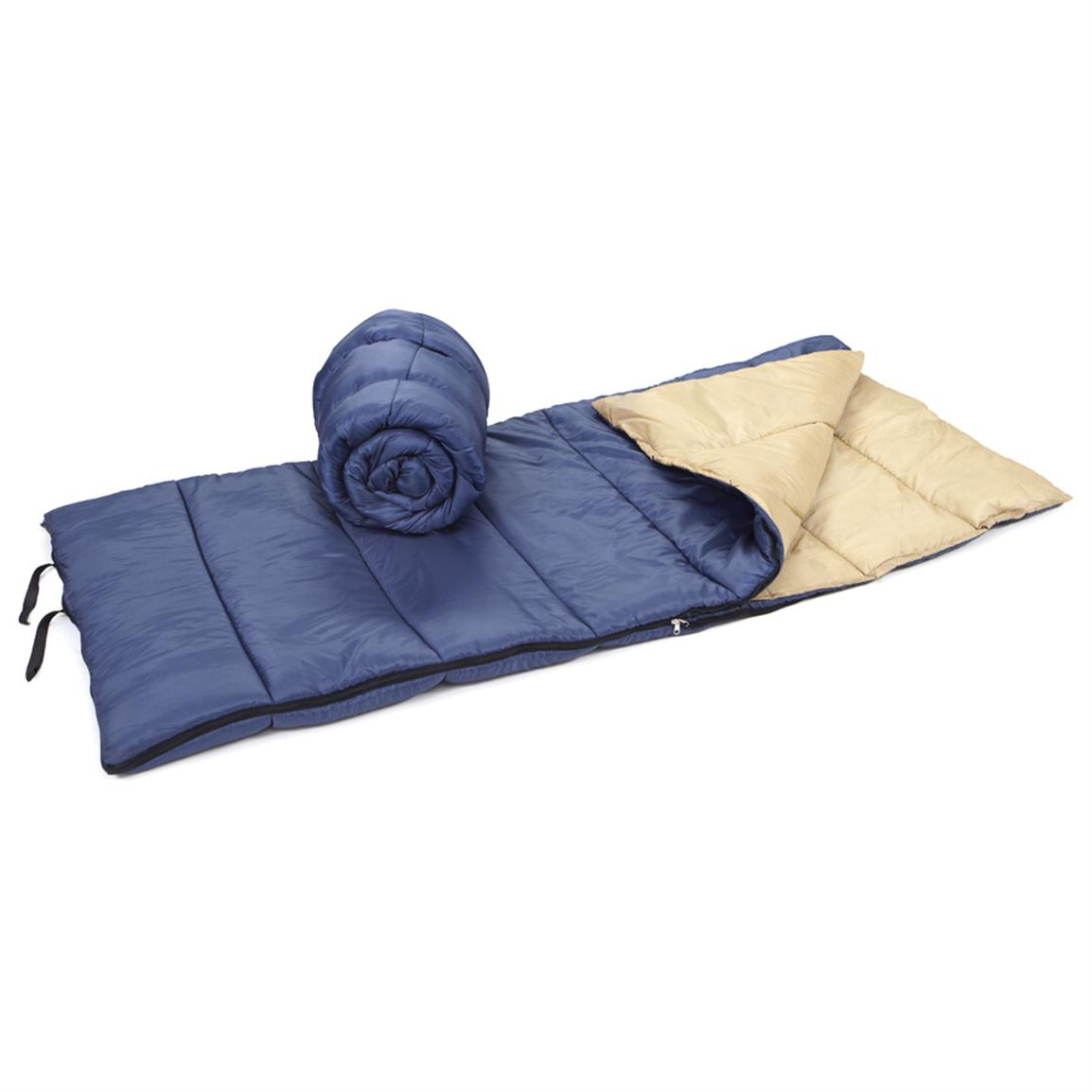 "2 Famous Maker 33"" x 75"" Sleeping Bags, Blue with Tan Interior • Straps keep them rolled up"