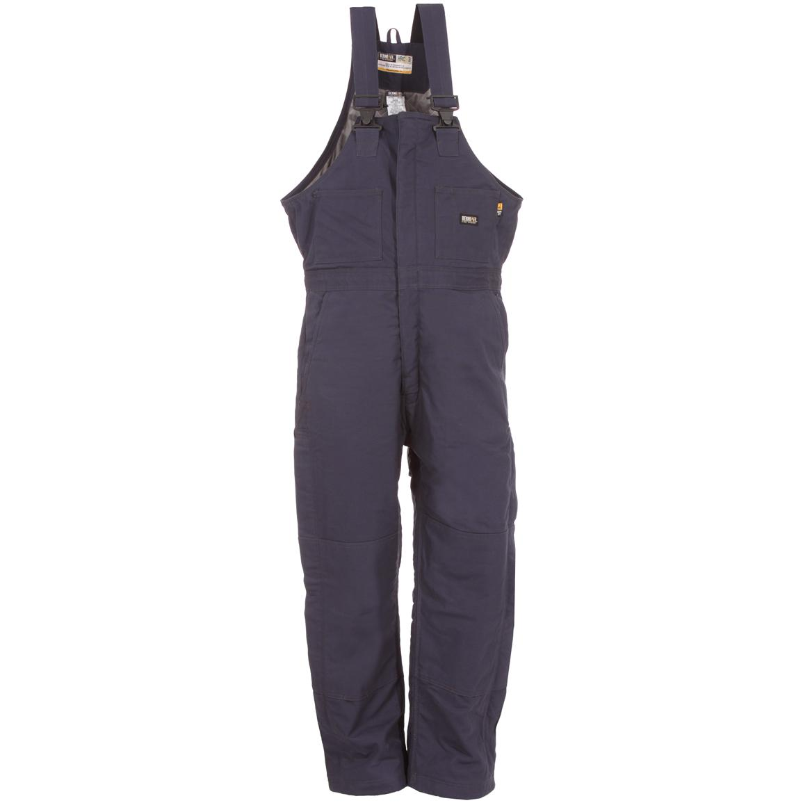 Berne® Flame-resistant Insulated Bib Overalls, Navy