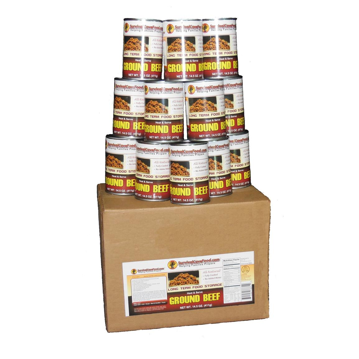 Survival Cave Food® Canned Ground Beef, 12-pk. 14 1/2-oz. cans