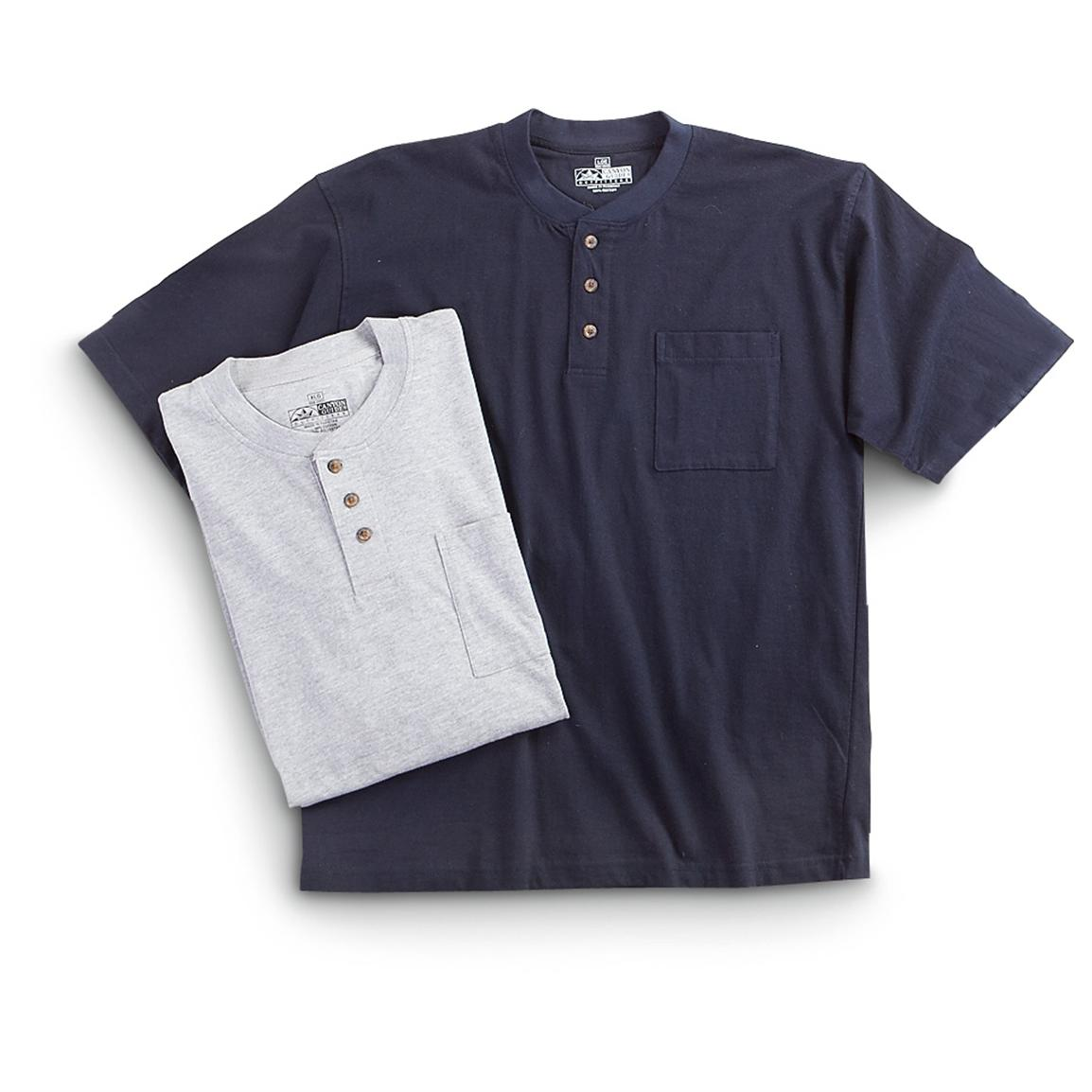 2 Canyon Guide® Short-sleeved Pocket Henleys, Gray / Navy