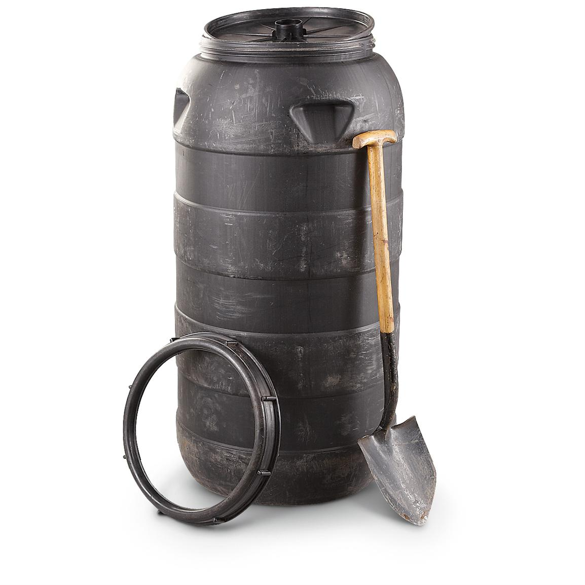 Used U.S. Military Surplus 70-gallon Molded Barrel, Black