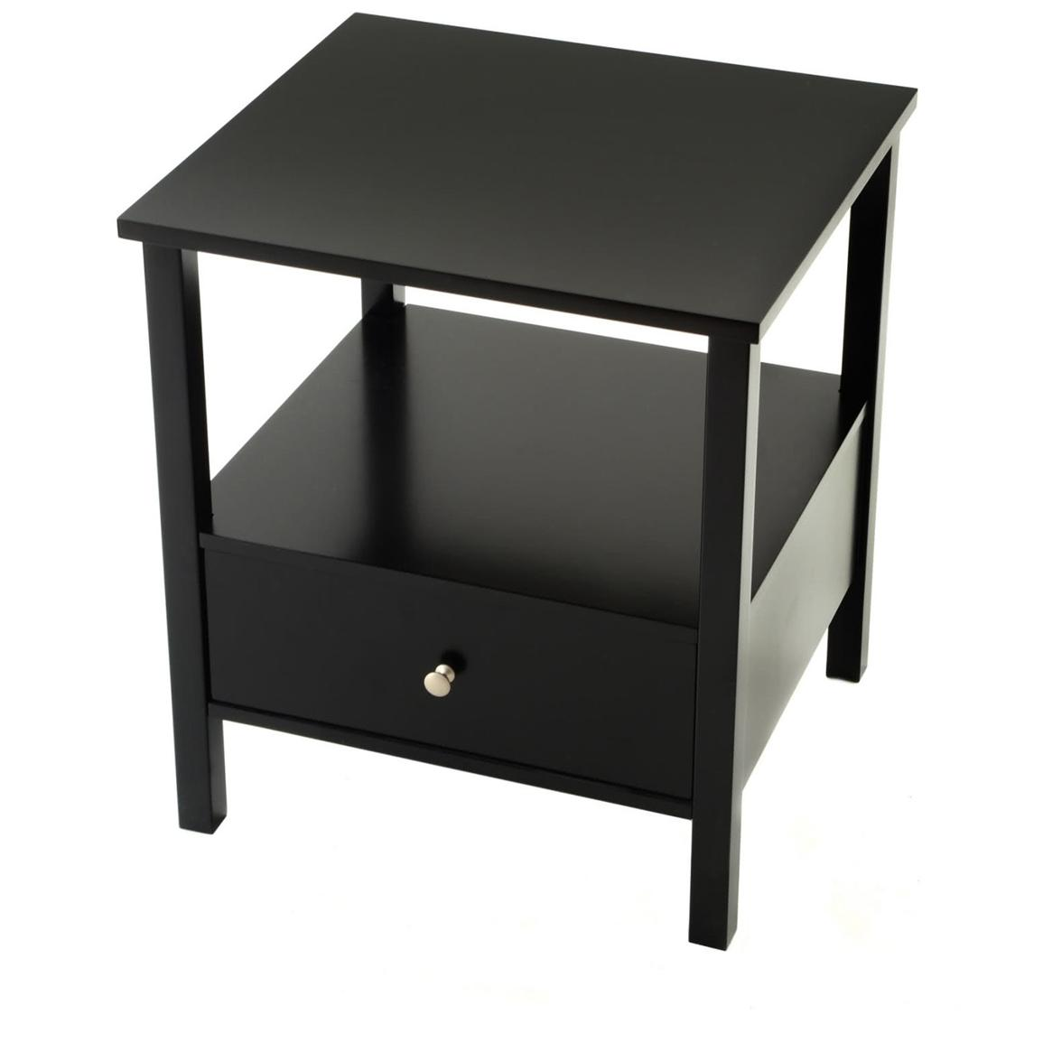 Wood End Table with Drawer, Black