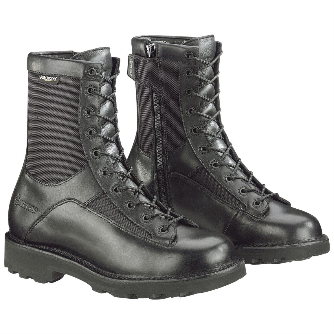 "Men's Bates 8"" DuraShocks Side-Zip Lace-To-Toe Combat Boots, Black"