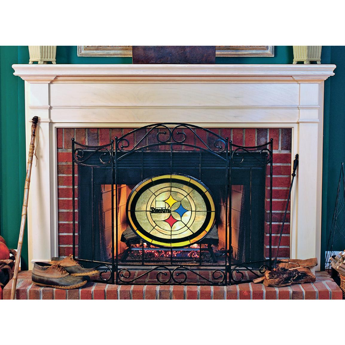 Licensed Tiffany-style Fireplace Screen, Pittsburgh Steelers