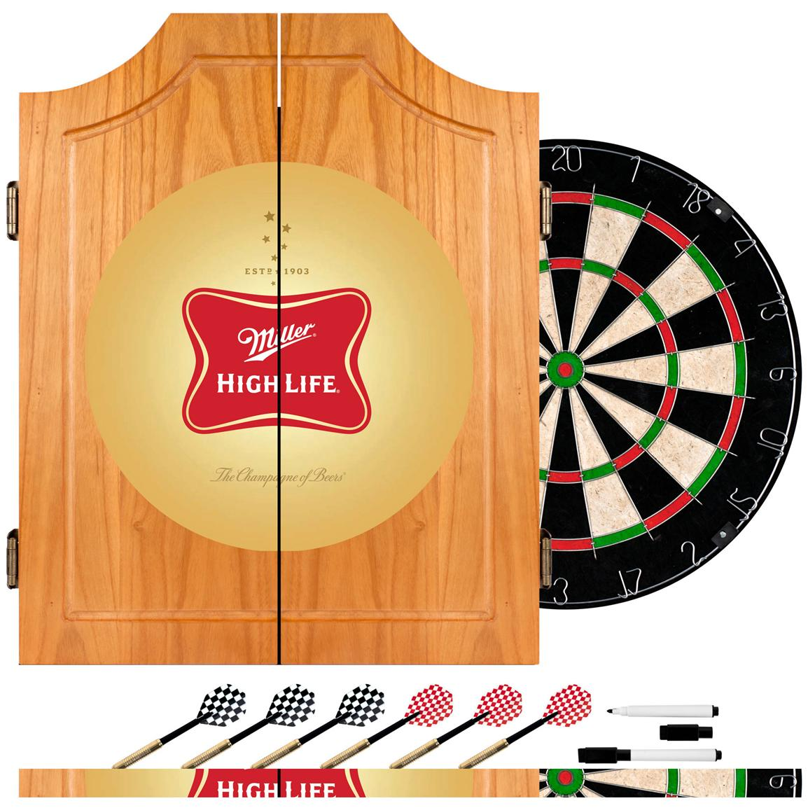 Miller High Life® Dart Board Cabinet with Darts, Logo