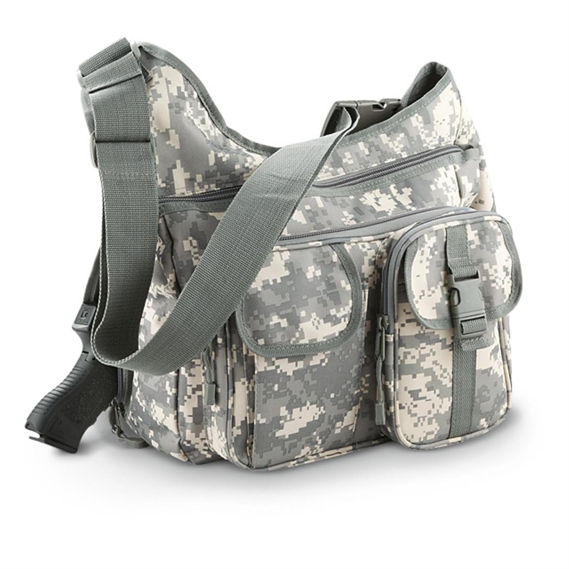 Concealed Carry Shoulder Sling Bag, ACU Digital Camo