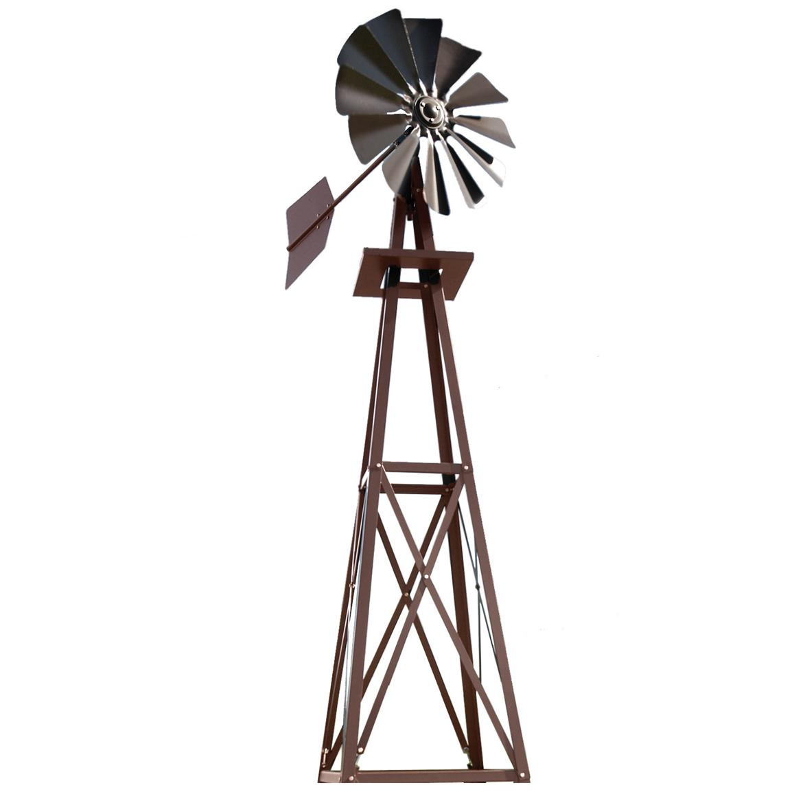 Outdoor Water Solutions® Small Galvanized Ornamental Backyard Windmill, Bronze