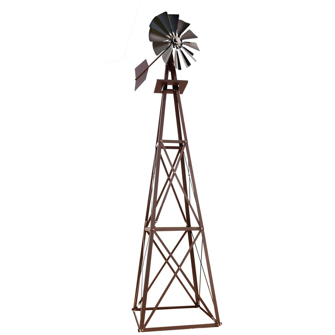 Outdoor Water Solutions® Ornamental Large Powder-coated Backyard Windmill, Bronze
