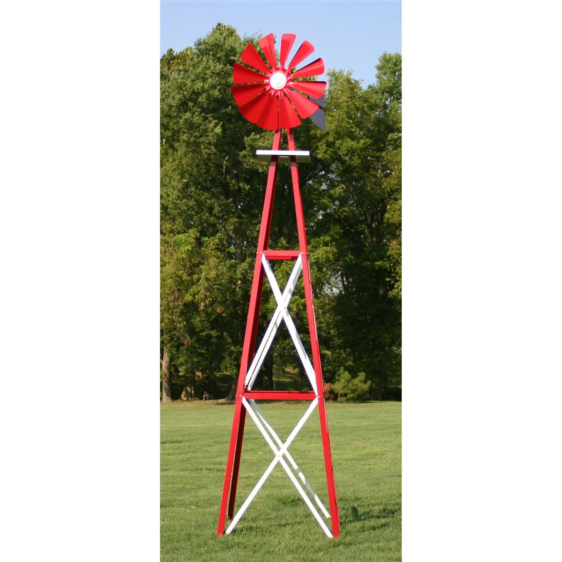 Outdoor Water Solutions® Ornamental Large Powder-coated Backyard Windmill, Red / White