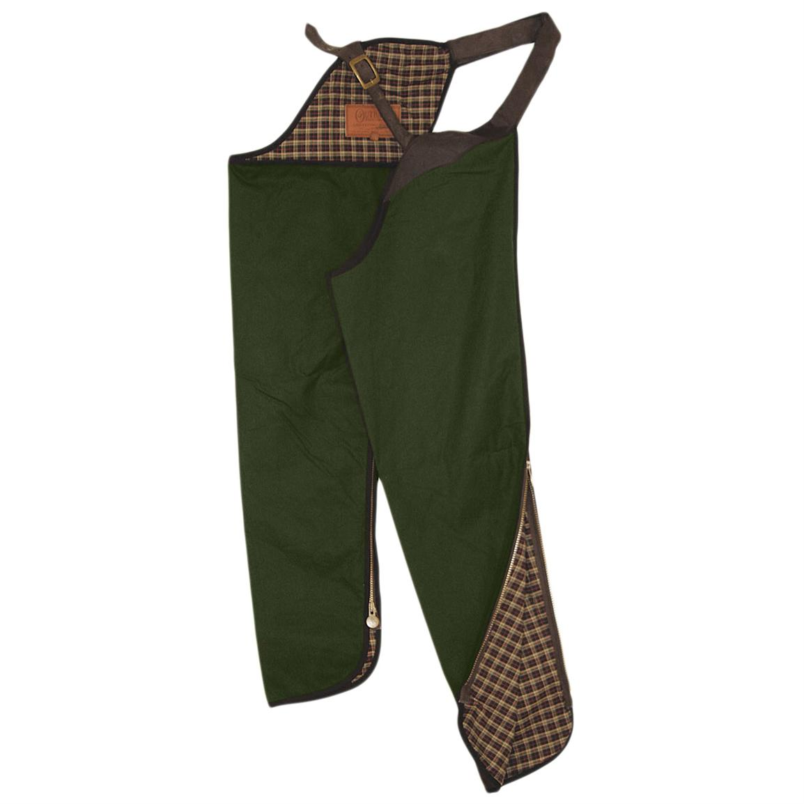 Outback Trading® Lined Oilskin Chaps, English Green