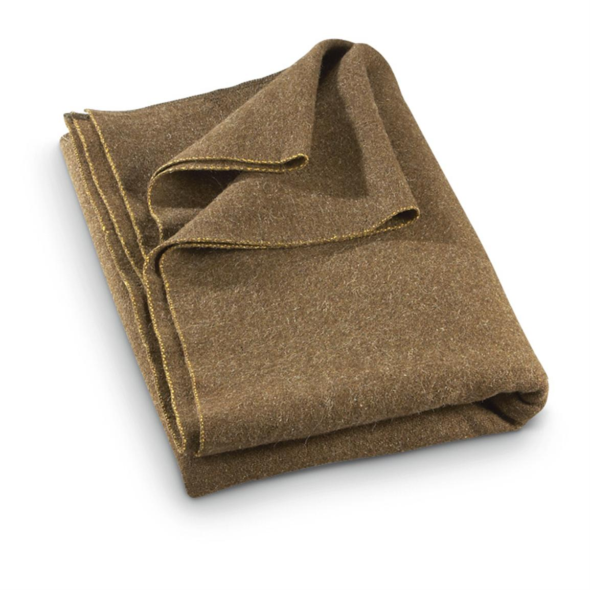 New Czech Military Surplus Wool Blanket, Olive Drab