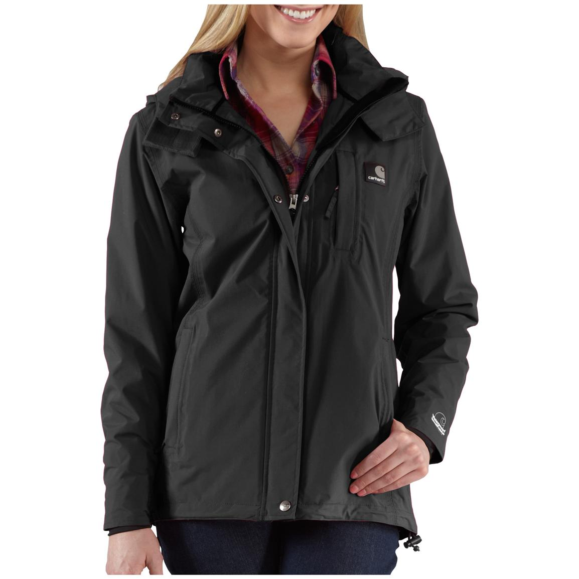 Women's Carhartt® Cascade Waterproof Hooded Jacket, Black