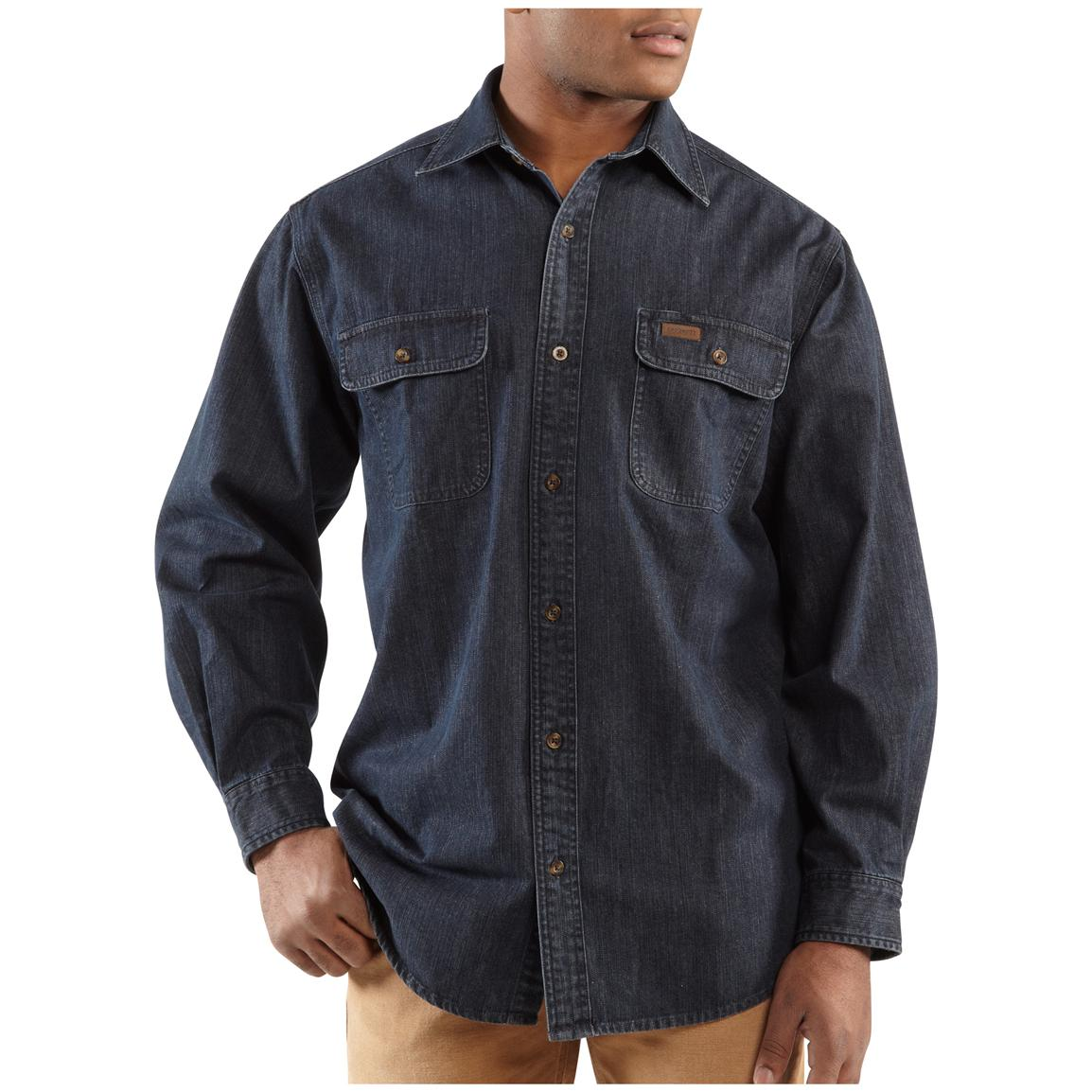 Men's Carhartt® Washed Denim Long-sleeve Work Shirt