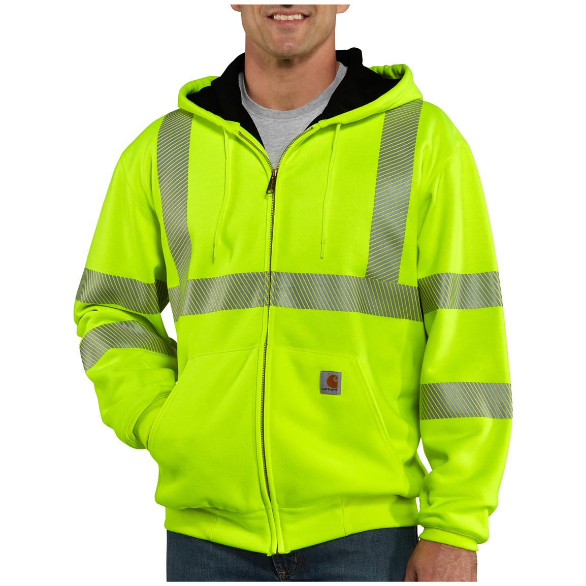 Men's Carhartt® Class 3 High-visibility Thermal Hooded Sweatshirt, Brite Lime