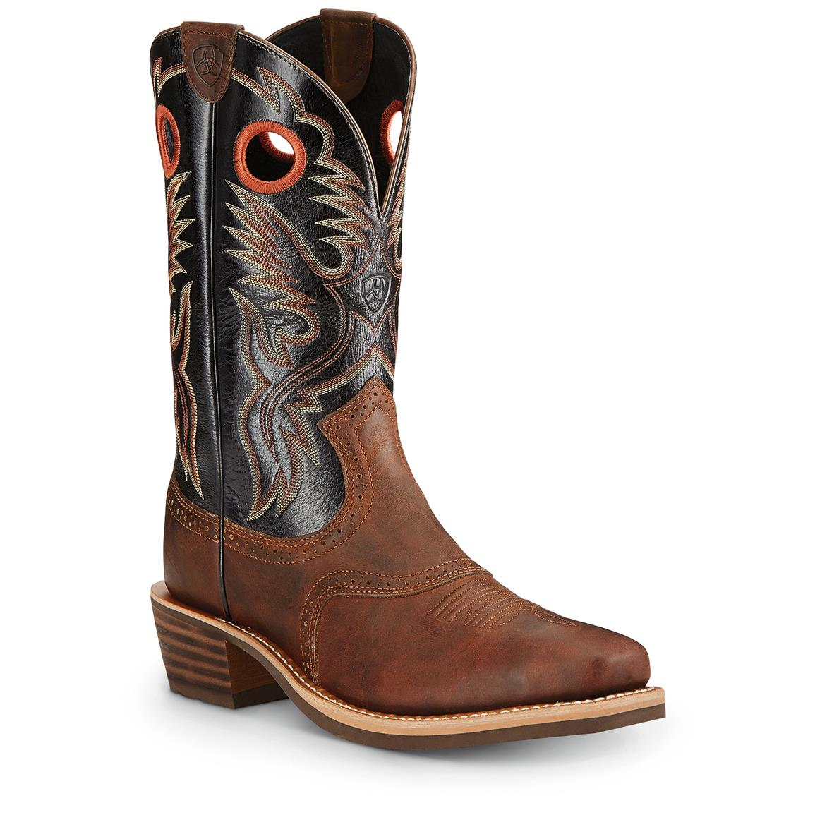 Ariat Men's Roughstock Cowboy Boots, Bar Top Brown / Black