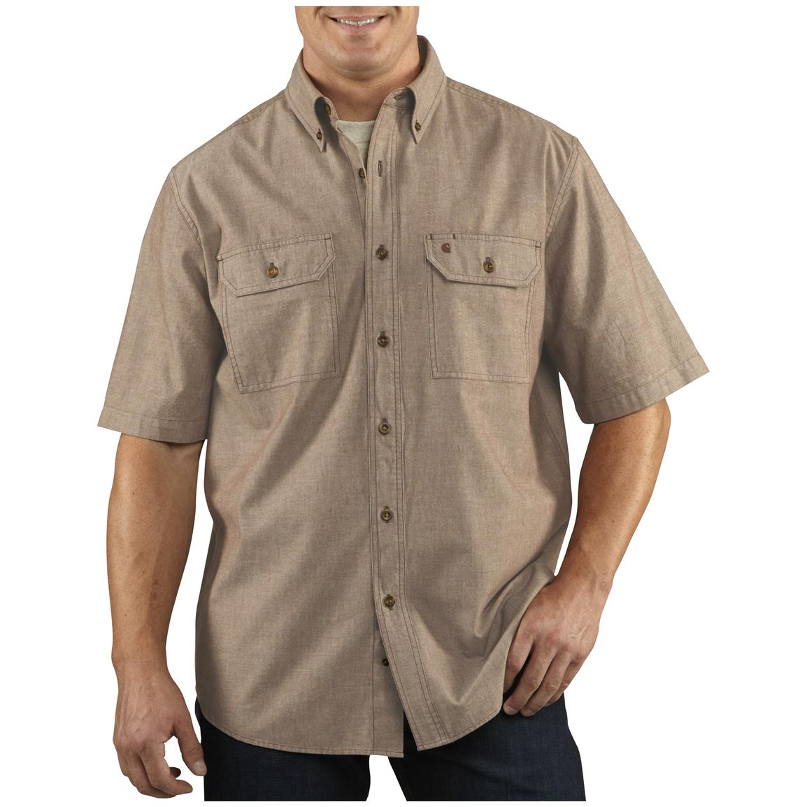 Men's Carhartt® Short-sleeve Chambray Work Shirt, Dark Tan