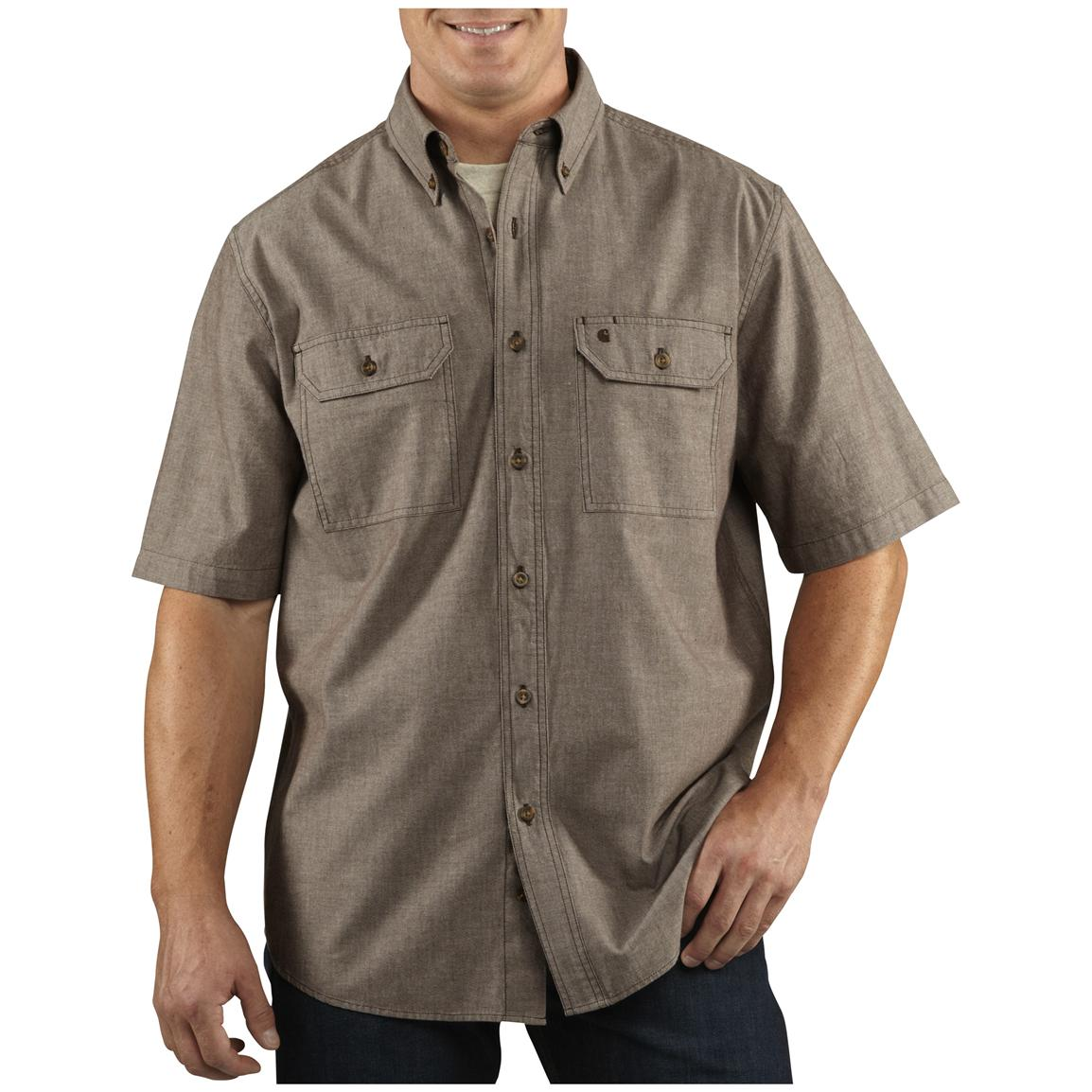 Men's Carhartt® Short-sleeve Chambray Work Shirt, Dark Brown