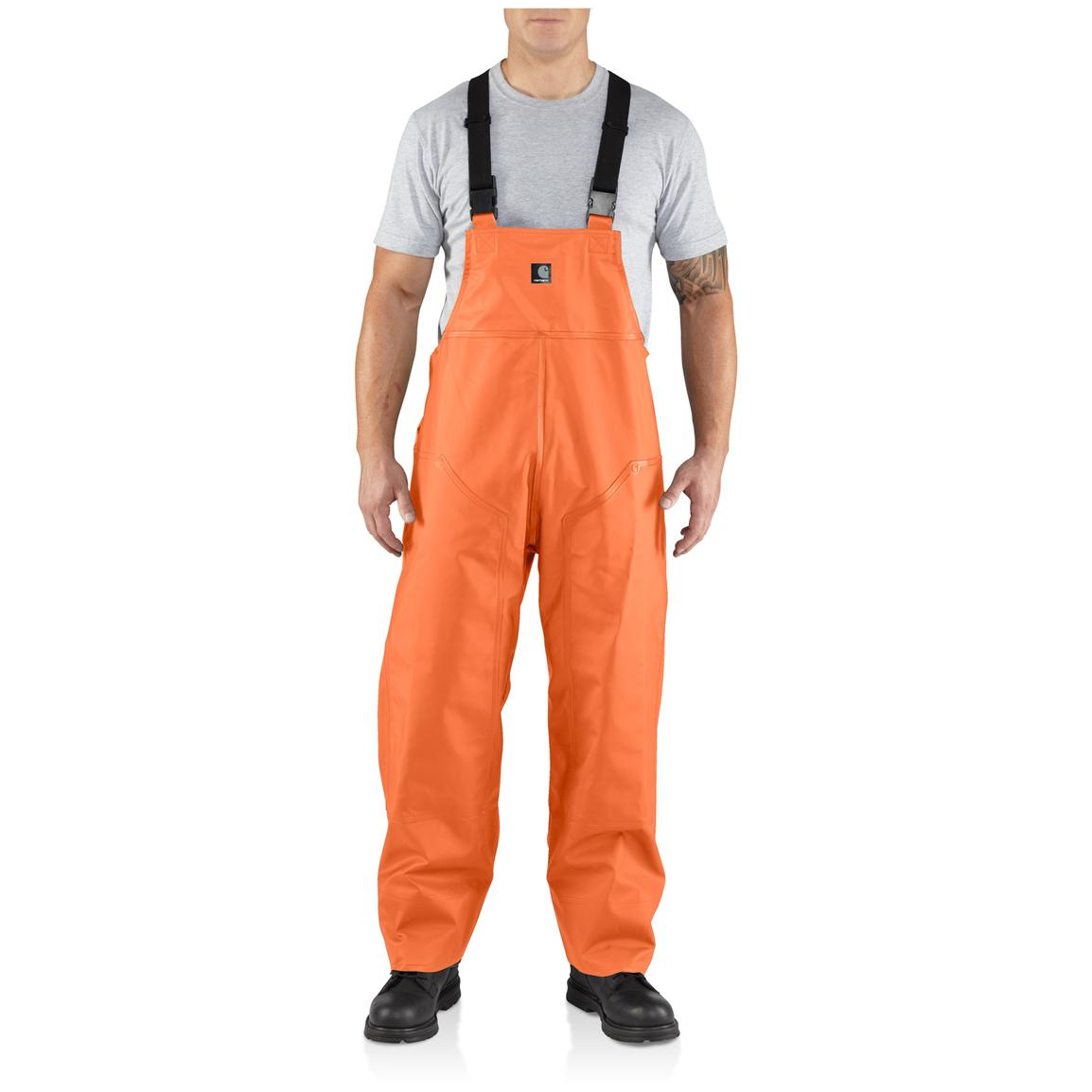 Men's Carhartt® Surrey Rain Bib Overalls, Orange