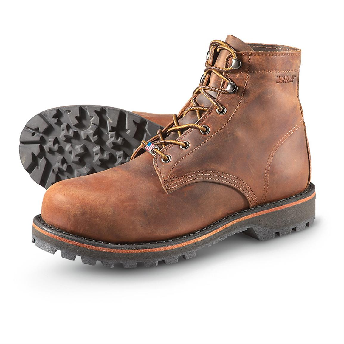 Men's Wolverine® Plainsman 6 inch Steel Toe EH Boots, Brown