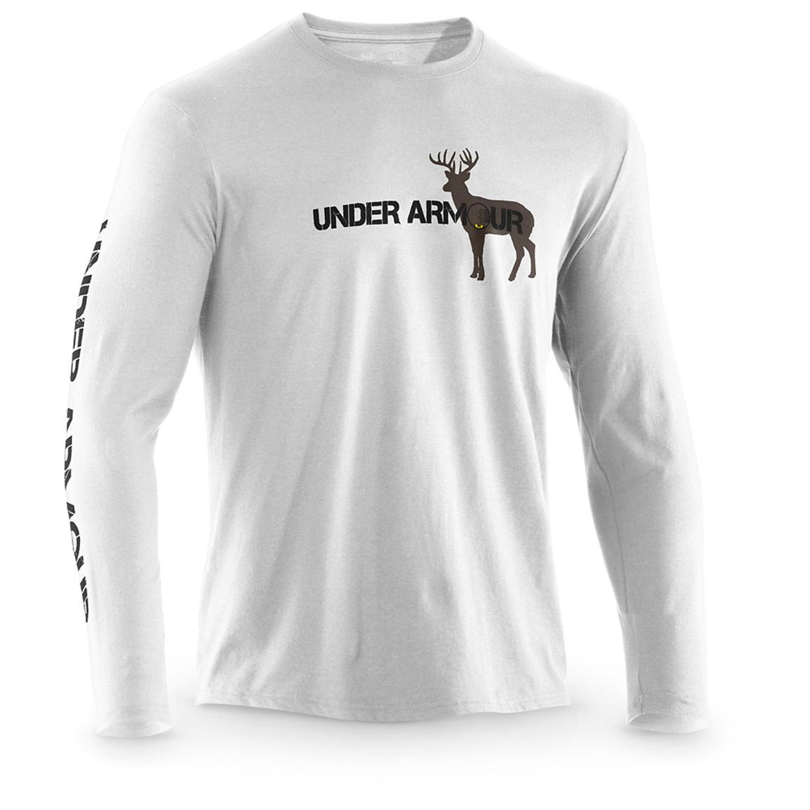 Long-sleeved Under Armour® Whitetail Crosshairs Shirt, White / Black