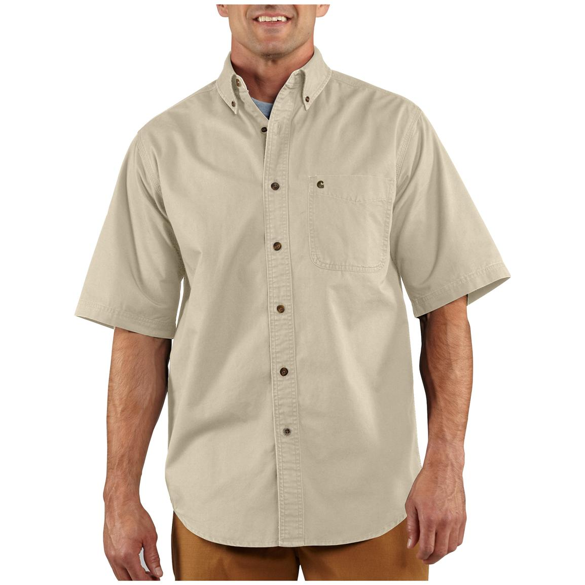 Men 39 s carhartt hines solid short sleeve work shirt for Mens short sleeve shirts