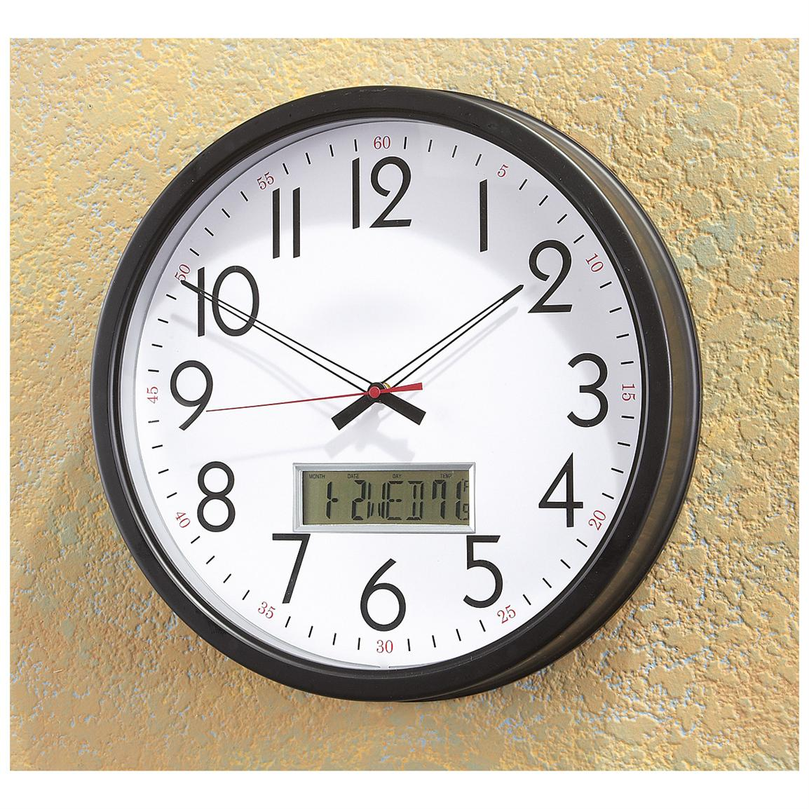 Wall Clock with LCD Inset
