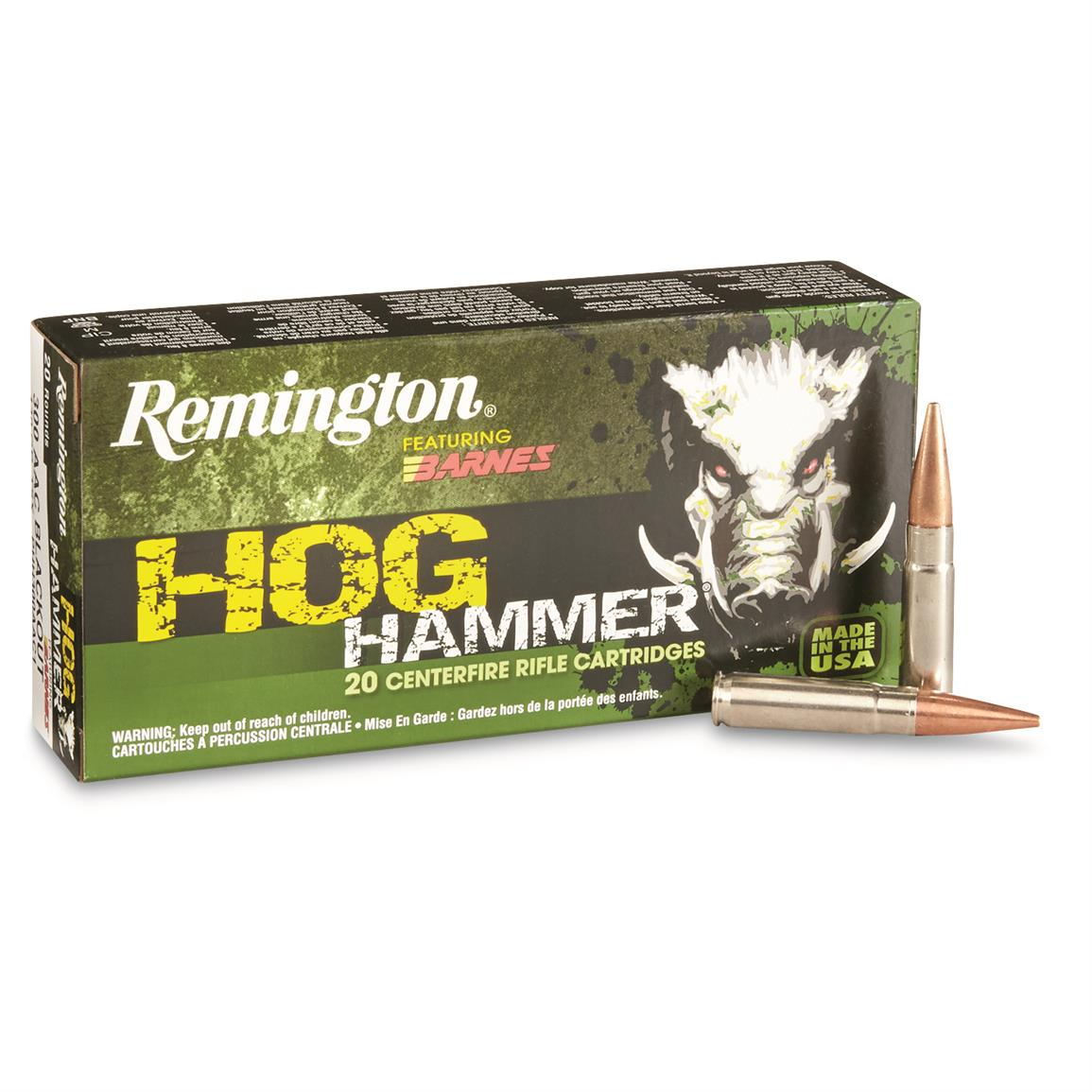 Remington, 300 AAC, Black Out Hog Hammer Rifle, 130 Grain, 20 Rounds