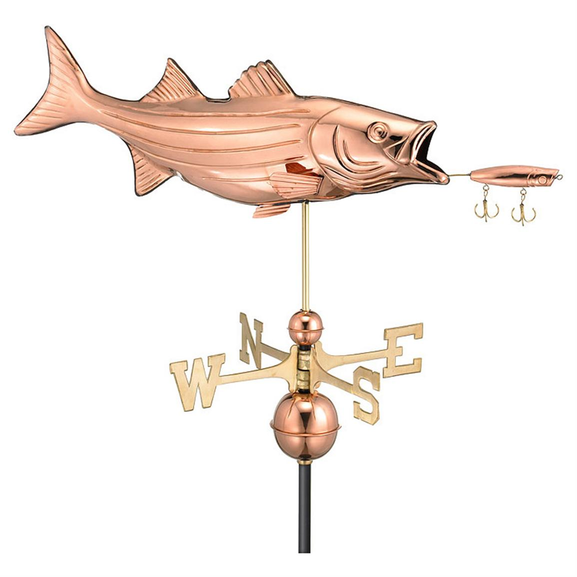 Bass and Lure Weathervane, 35x16 inch h.