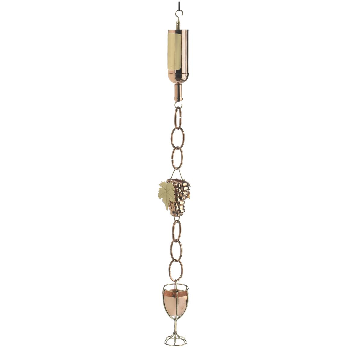 Good Directions Wine Bottle with Grapes & Glass Rain Chain